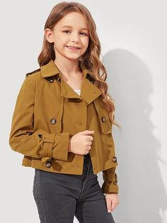 To find out about the Girls Double Breasted Short Trench Coat at SHEIN, part of our latest Girls Jackets & Coats ready to shop online today! Girls Coats & Jackets, Black Jackets, Fashion News, Girl Fashion, Short Trench Coat, Ankara Jackets, Double Breasted Coat, Collar Styles, Girls Shopping