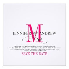 Hot Pink Save the Date Monogram Announcement