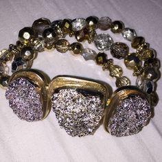 Large Adjustable  Fashion Bracelet Adjustable, multi toned beaded fashion bracelet Jewelry Bracelets