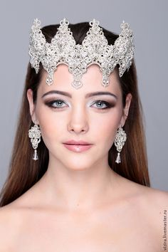 """Crown """"Fairy Tale"""" - белый,корона,свадьба,ободок для волос,кружево ручной работы"""