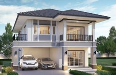 House design with 5 bedrooms. Style modern with roofHouse description:Number of floors 2 storey housebedroom 5 roomstoilet 2 roomsmaid's room Plan Tiny House, House Plans For Sale, Shed House Plans, Pool House Plans, Modern Tiny House, Ranch House Plans, Modern House Plans, Small House Plans, Cabin Plans