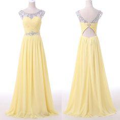 Yellow Chiffon Prom Dress,Long Prom Dresses,Formal Evening Dress,Sweet