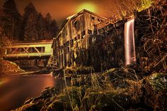 """Grist Mill Exposed by Bill Burk on Capture Southwest Washington // This image was so fun to create! Chris Bauer and I light painted the Grist mill (with permission) and let the exposure really burn in. It was raining and we had an umbrella rigged up over the camera with a 26 min exposure. Chris was painting the mill from across the water as i filled the falls and foreground.  Visit and """"Like"""" Bill Burk Photography on Facebook"""