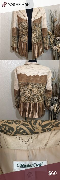 Coldwater Creek Jacket Stunning jacket in earth-tones. Looks and feels like suede, but is actually easy care polyester. Rare find in excellent condition. Coldwater Creek Jackets & Coats