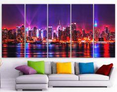 "the new york skyline 4 panel well mirror | XLARGE 30""x 70"" 5 Panels Art Canvas Print Beautiful skyline New York ..."