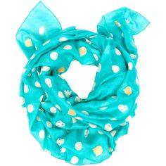 Tsumori Chisato Dot Scarf - Turquoise - AD133 ($74) ❤ liked on Polyvore featuring accessories, scarves, blue, turquoise shawl, polka dot scarves, woven scarves, tsumori chisato and blue shawl