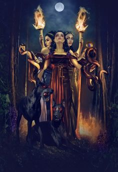 Hekate is a goddess of the crossroads, the queen of witches, the ruler of the heavens and the underworld. She is the embodiment of darkness; the moon in it's true color. She is the maiden, the mother, and the crone; the keeper of all vast knowledge and mysteries, wisdom, strength, and truth. She is a liberated woman, free from all male-created bonds. She is mind, body, spirit; birth, life, and death.
