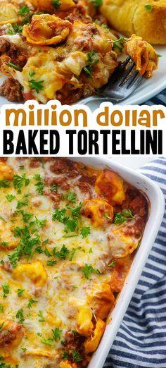 Beef Tortellini Recipe, Baked Cheese Tortellini, Tortellini Bake, Recipe Pasta, Cheesy Recipes, Easy Pasta Recipes, Crockpot Recipes, Dinner Recipes, Cooking Recipes