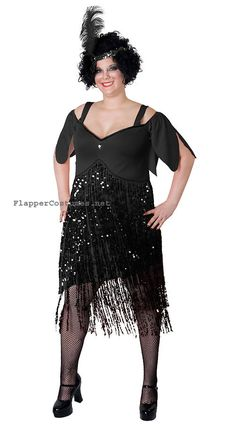 roaring 20 dresses in women size | Plus Size Flapper Costume styles for twenties themes.