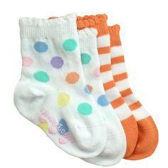 BabyLegs baby socks in Pina Colada - orange white stripes & polka dots $10