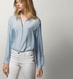 62173f8e3592e Massimo Dutti SILK SHIRT woman. M. Sky Blue. Deluxe Silk.  MassimoDutty