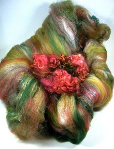 Moss Rose Wild Card Bling Batt for spinning and by yarnwench, $36.00