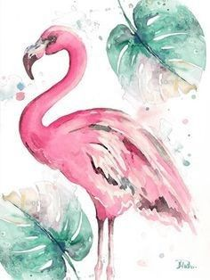 acuarela Watercolor Leaf Flamingo I by Patricia Pinto Watercolor Leaf, Watercolor Illustration, Watercolor Flowers, Watercolor Paintings, Simple Watercolor, Tattoo Watercolor, Watercolor Animals, Watercolor Techniques, Watercolor Background
