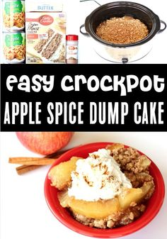 Apple Dump Cake with Pie Filling in Crockpot! Easy desserts like this one are sure to get you in the mood for Fall! Cinnamon, spice, and everything nice makes this the perfect cozy dessert! Just 4 ingredients and you're done... go grab the recipe and give it a try this week! Camping Desserts, Fun Desserts, Delicious Desserts, Apple Recipes, Fall Recipes, Christmas Recipes, Dump Cake Recipes, Dump Cakes, Apple Dump Cake With Pie Filling
