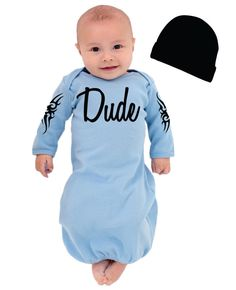 HOW ADORABLE!!!! Cool Baby Boy's Take Home Outfit - Dude with Tribal Tattoo Design