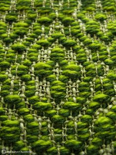 A close up of one of my latest Overshot scarves showing off the lovely colours and this almost optical illusion that is created using the two different colours of pattern wefts. More weaving on my Website: www.craftpigeon.net