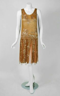 1920's antique French metallic gold couture silk-net dance dress.