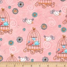 Bird Wise Birdcage Pink from @fabricdotcom  Designed by Julie Dobson Miner/Artworks! and licensed to StudioE, this cotton print fabric is perfect for quilting, apparel and home decor accents. Colors include blue, pink, green and white.