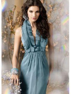 Blue Halter Floor Length Ruffless Idiosyncratic Idiosyncratic Bridesmaid Dress