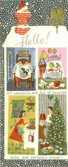 vintage Santa Claus coming down chimney Christmas greeting card image