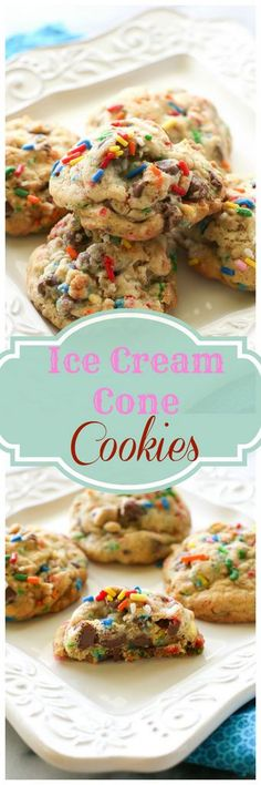 Ice Cream Cone Cookies made with chocolate chips, sprinkles, and small chunks of crushed up cones for a crunchy bite. http://ebay.to/1hsFPI1