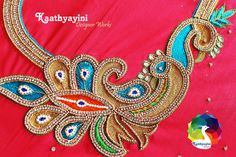 Best Blouse Designs, Saree Blouse Neck Designs, Sari Design, Peacock Design, Peacock Embroidery Designs, Maggam Work Designs, Embroidery Works, Gold Work, Cutwork
