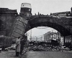 In January train carriages careered off a bridge and plunged onto Kentish Town Road, as today's amazing photo reveals. Camden London, Camden Town, Old London, North London, London History, British History, British Rail, Vintage London, London Photography