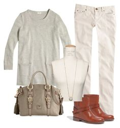 """""""Autumnal Grey and Cream"""" by tjmcd ❤ liked on Polyvore featuring J.Crew, Madewell and Dooney & Bourke"""