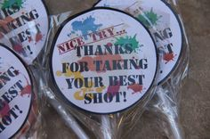 Paintball Party Favors 5 customized Lollipops by DaiseyDoos