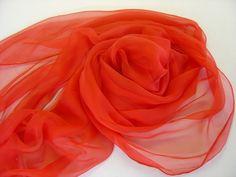 Seidenschals - Seidenschal passionrot Chiffonschal Stola - ein Designerstück von textilkreativhof bei DaWanda