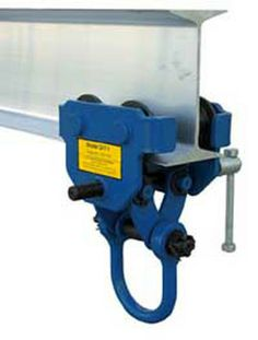 The Quick Install Manual Trolleys are dependable, easy and safe to use. Designed to easily adjust to the width of virtually any S, H, W and M type I-beam. Width is adjusted with manual screw mechanism. Includes locking ring to prevent trolley width from changing accidentally. Manual screw mechanism may also be tightened to prevent trolley from moving (similar to a Beam Clamp). Each trolley includes four rollers with sealed bearings for long life.
