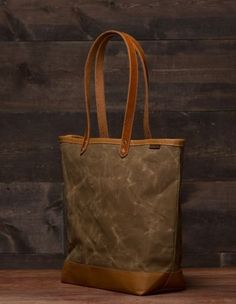 Waxed Canvas and Leather Tote Bag by Mercy Leather Work