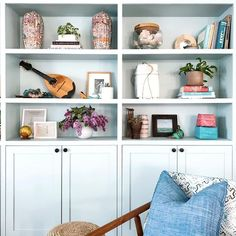 Semihandmade (@semihandmade) • Instagram photos and videos Bookshelves In Living Room, Bookcases, Shaker Doors, Cookie Exchange, Holidays And Events, Built Ins, Floating Shelves, Family Room, Storage