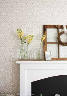 Neutral Living Room or Bedroom Makeover Ideas - DIY Painted Accent Wall Pattern with Designer Wallpaper Effect - Palace Trellis Moroccan Lace Wall Stencils by Royal Design Studio