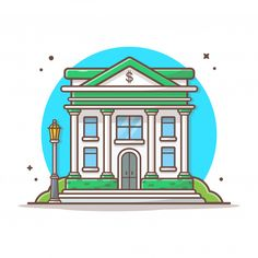 Building And Landmark Icon Concept White Isolated. Flat Cartoon Style Suitable for Web Landing Page, Banner, Sticker, Background , Vector Icons, Vector Free, Cartoon Building, Office Icon, Building Illustration, Banks Building, Cartoon Styles, Design City, Royalty Free Stock Photos