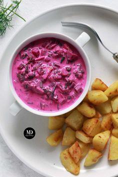 Chłodnik z botwiny na jogurcie ze smażonymi ziemniaczkami Food Allergies, Get Healthy, Vegetarian Recipes, Cabbage, Salads, Food And Drink, Lunch, Meals, Dinner