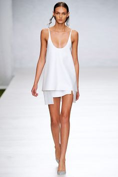 Lucas Nascimento SS14 Look 012 - white leather strappy vest top and asymmetric layered skirt