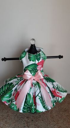 Dog Dress XS hibiscus flower By Nina's Couture Closet