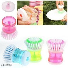 Bath Sets Attractive Home & Kitchen Utilities Material: Plastic Size: 16 cm x 8 cm x 6 cm Description: It has 3 Pieces Of Cleaning Brush Of Liquid Soap Dispenser Country of Origin: India Sizes Available: Free Size   Catalog Rating: ★3.8 (493)  Catalog Name: Attractive Home & Kitchen Utilities Vol 7 CatalogID_281500 C132-SC1587 Code: 061-2124432-282
