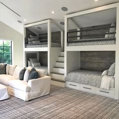 This is a great media room concept. Built In Bunks, Bunk Rooms, Casa Linda, Cool Rooms For Teenagers, House Goals, Bed Without Headboard, Guest Bedrooms, Dream Rooms, Media Room Design