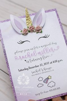 Tooo Cute! Unicorn Chic Invitation, THEY ARE HANDMADE with the best quality on paper and print. This invitation is not specifically for a birthday it can be for what you want! *Wedding *Birthday *Sweet Sixteen *Quinceanera *Aniversary *Baby shower and more! We are able to