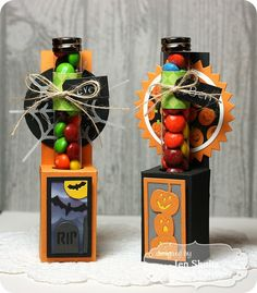 Taylored Expressions Septmeber Sneak Peeks: Test Tube Caddy and Think Happy Thoughts - Deconstructing Jen Halloween Favors, Halloween Goodies, Diy Halloween Decorations, Halloween Cards, Holidays Halloween, Halloween Treats, Halloween Night, Candy Crafts, Paper Crafts