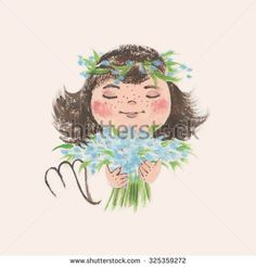 Baby zodiac sign - Virgo. Cute hand-drown illustration in pastel colors.