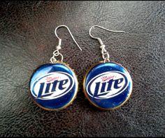 Handmade Miller Lite Beer Bottle Cap Earrings by MissAbbyRose, $6.50 May Sale, Don't miss out! #bottlecapearrings #bottlecapjewelry #MillerLite