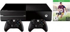 Xbox One (ohne Kinect) 500 GB + FIFA 15 + 2 Controller Konsolen-Set, schwarz - Videospiel-Konsolen