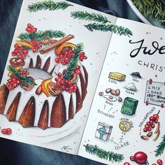 Looking for a really fun way to include recipes in your bullet journal? Here are gorgeous spreads to inspire you to cook and create Bullet Journal Christmas, Bullet Journal Ideas Pages, Bullet Journal Inspiration, Journal Layout, My Journal, Recipe Book Design, Recipe Drawing, Planning And Organizing, Food Drawing