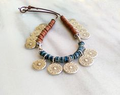 Use Irish and English coins ~ ~ Necklace Beaded leather choker for women tribal layering bib