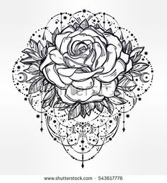 Decorative rose flower with beautiful beads and stars. Highly detailed isolated vector illustration. Tattoo flesh, mystic boho symbol. floral design. Print, posters, t-shirts and textiles.