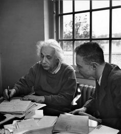 Albert Einstein in discussion with Robert Oppenheimer in an office of the Institute for Advanced Study, 1947.