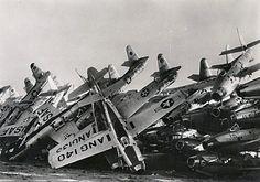 USAF F-84 Thunderjets awaiting their final fate in the airplane boneyard at Davis-Monthan AFB in Tucson, Arizona